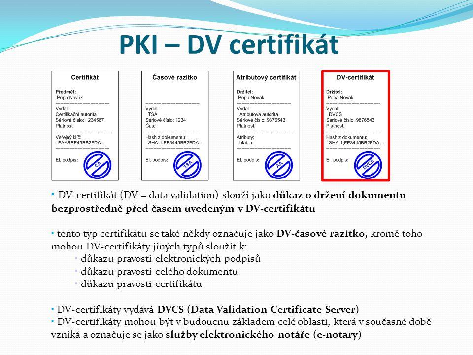 PKI – DV certifikát DV-certifikát (DV = data validation) slouží jako důkaz o držení dokumentu bezprostředně před časem uvedeným v DV-certifikátu.