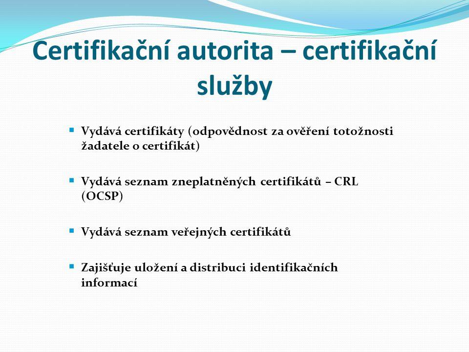 Certifikační autorita – certifikační služby