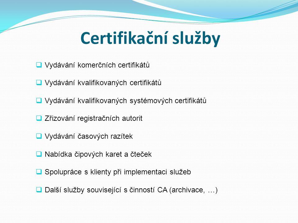 Certifikační služby Vydávání komerčních certifikátů