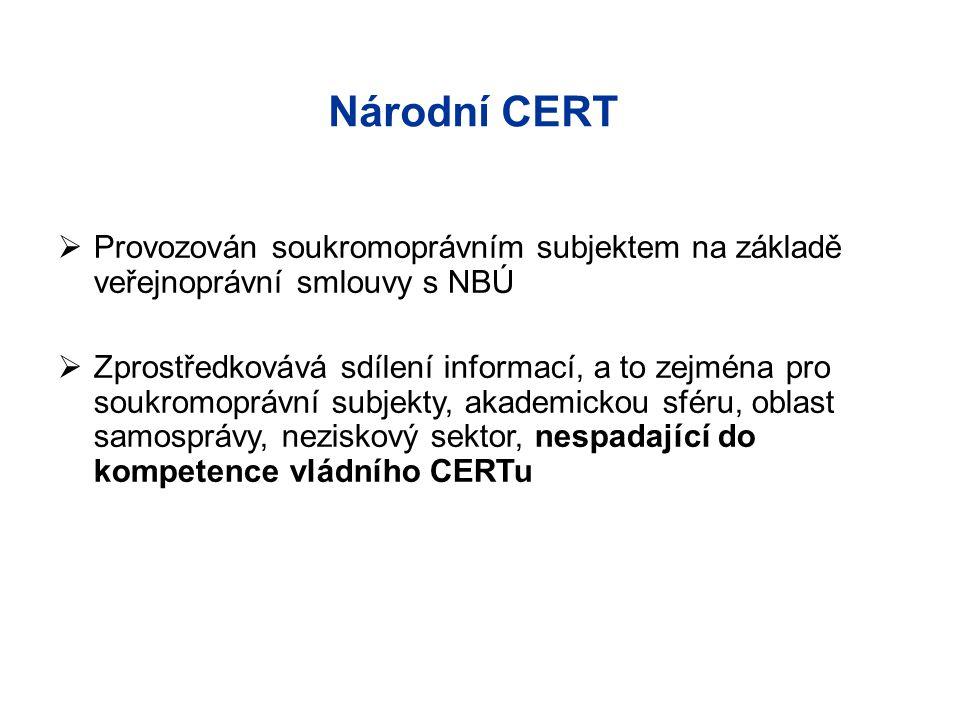 Národní CERT Provozován soukromoprávním subjektem na základě veřejnoprávní smlouvy s NBÚ.