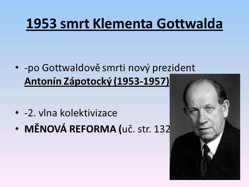 1953 smrt Klementa Gottwalda