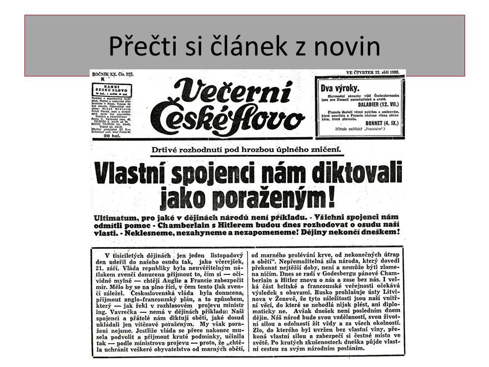 Přečti si článek z novin