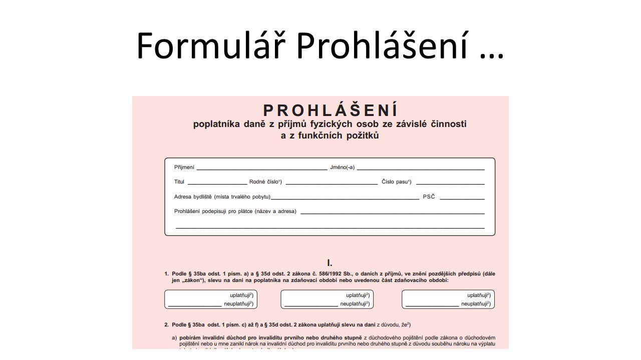 Formulář Prohlášení …