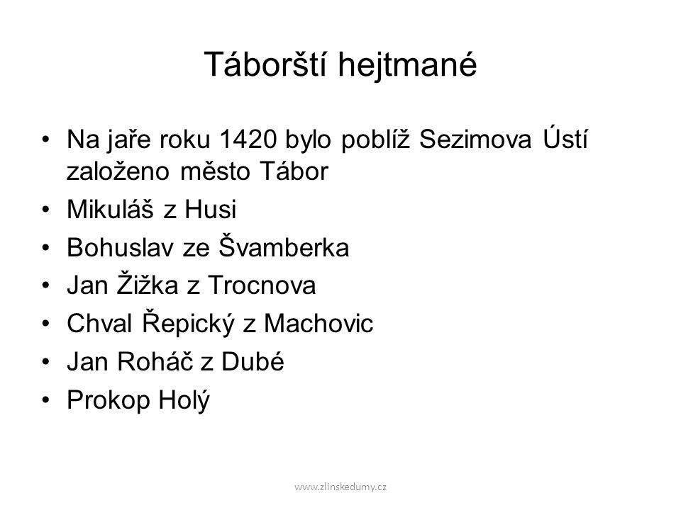Táborští hejtmané Na jaře roku 1420 bylo poblíž Sezimova Ústí založeno město Tábor. Mikuláš z Husi.