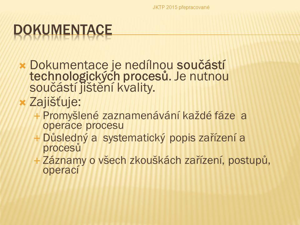 JKTP 2015 přepracované Dokumentace. Dokumentace je nedílnou součástí technologických procesů. Je nutnou součástí jištění kvality.