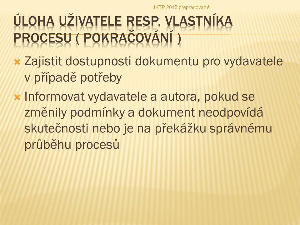 Úloha uživatele resp. vlastníka procesu ( pokračování )