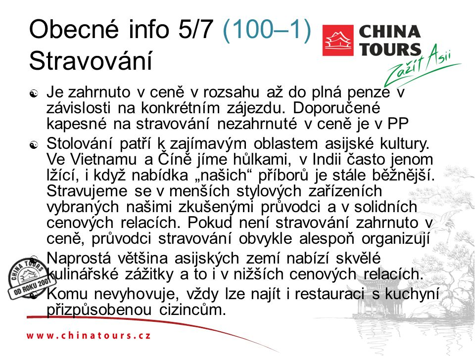 Obecné info 5/7 (100–1) Stravování