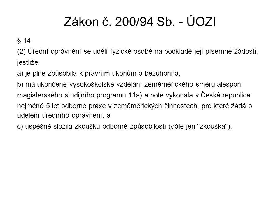 Zákon č. 200/94 Sb. - ÚOZI § 14. (2) Úřední oprávnění se udělí fyzické osobě na podkladě její písemné žádosti,