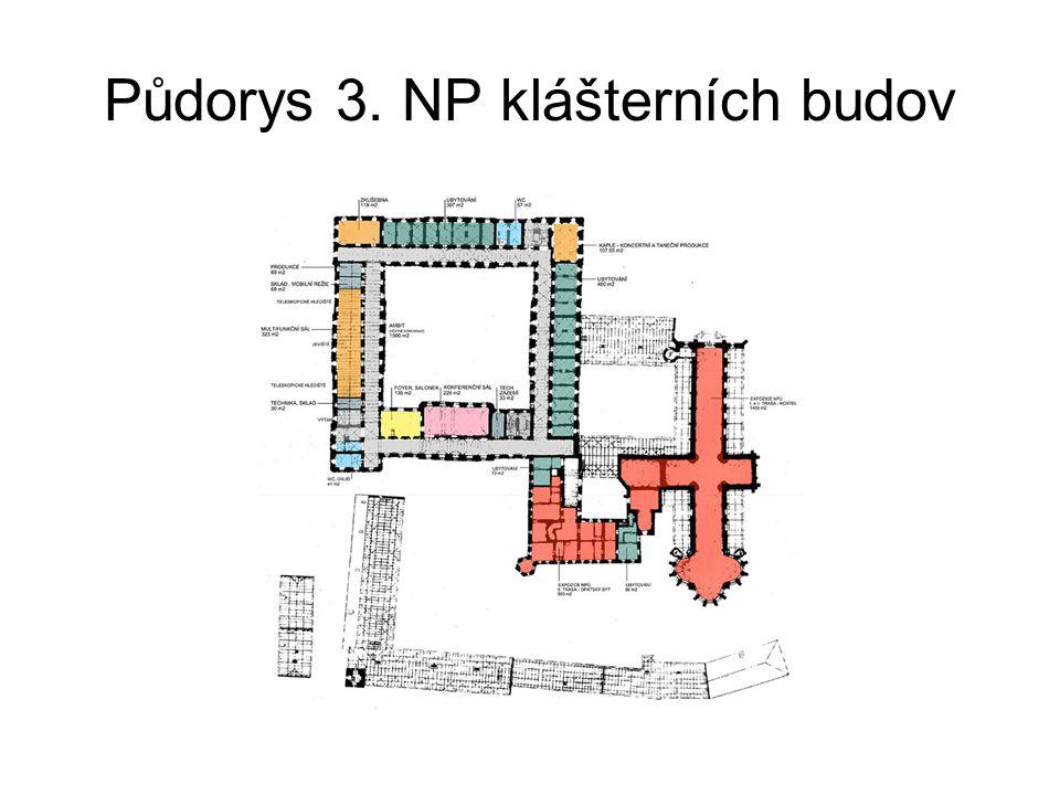 Půdorys 3. NP klášterních budov