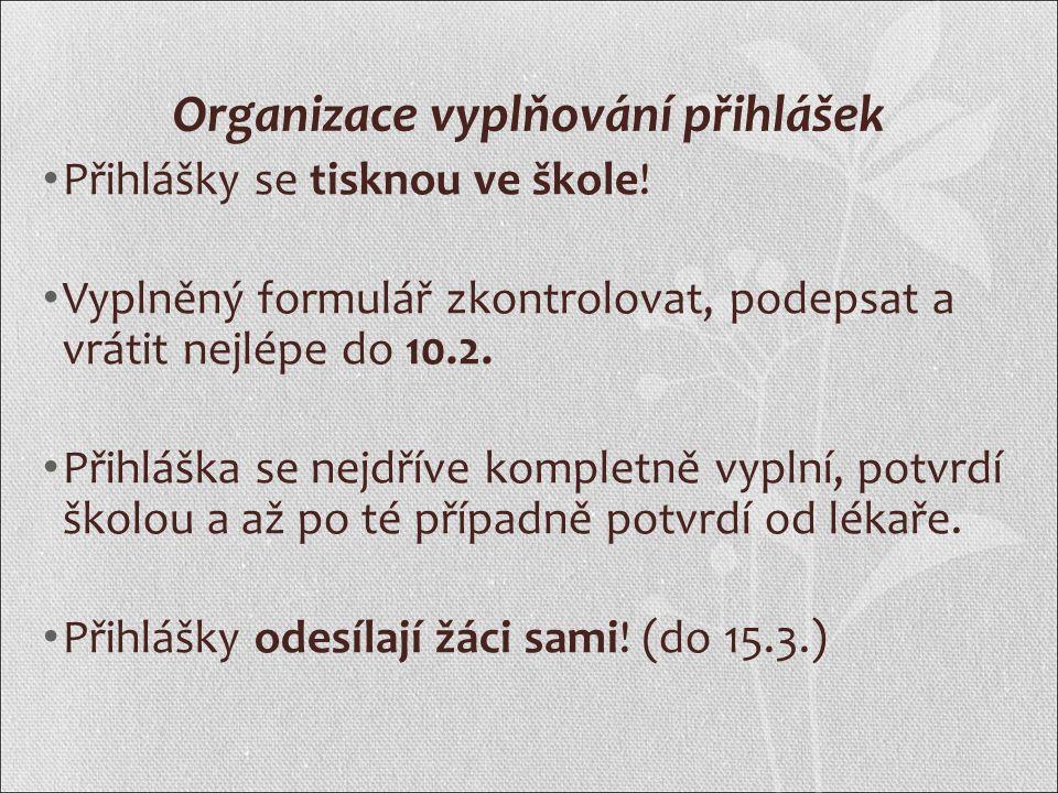 Organizace vyplňování přihlášek