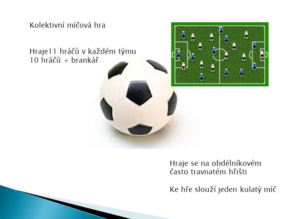 Kolektivní míčová hra Hraje11 hráčů v každém týmu 10 hráčů + brankář. Hraje se na obdélníkovém často travnatém hřišti.