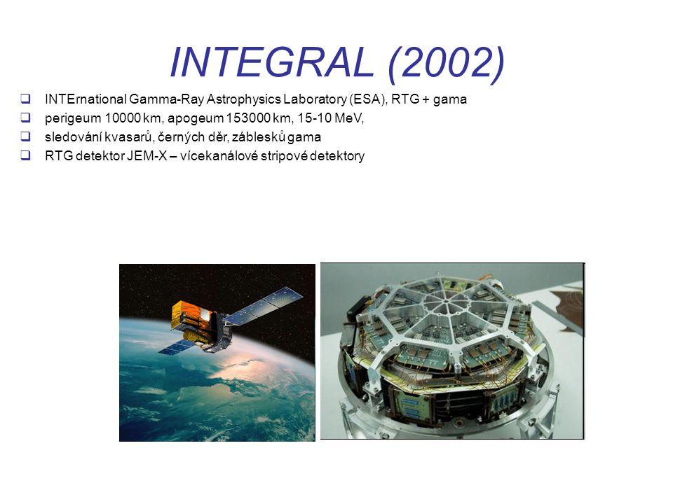 INTEGRAL (2002) INTErnational Gamma-Ray Astrophysics Laboratory (ESA), RTG + gama. perigeum 10000 km, apogeum 153000 km, 15-10 MeV,