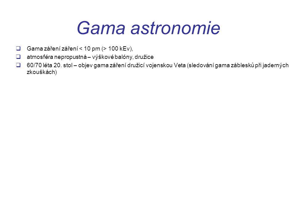 Gama astronomie Gama záření záření < 10 pm (> 100 kEv),