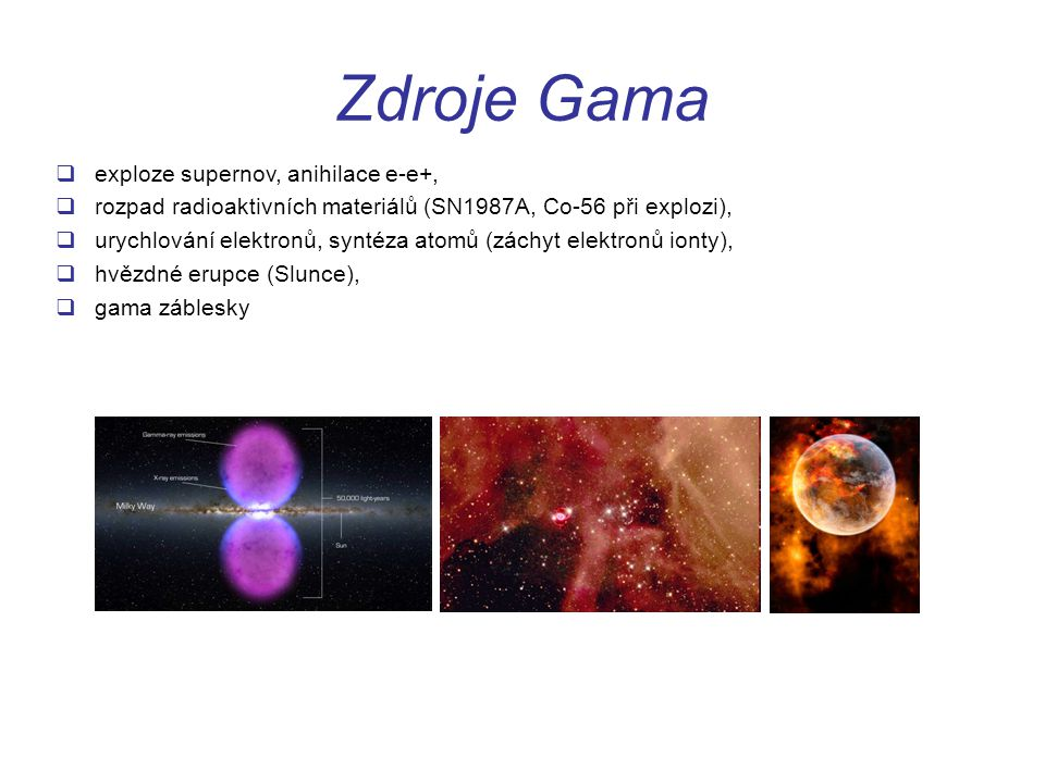 Zdroje Gama exploze supernov, anihilace e-e+,