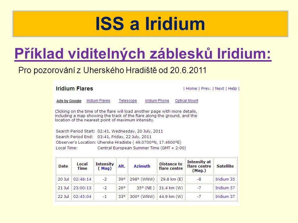 ISS a Iridium Příklad viditelných záblesků Iridium: