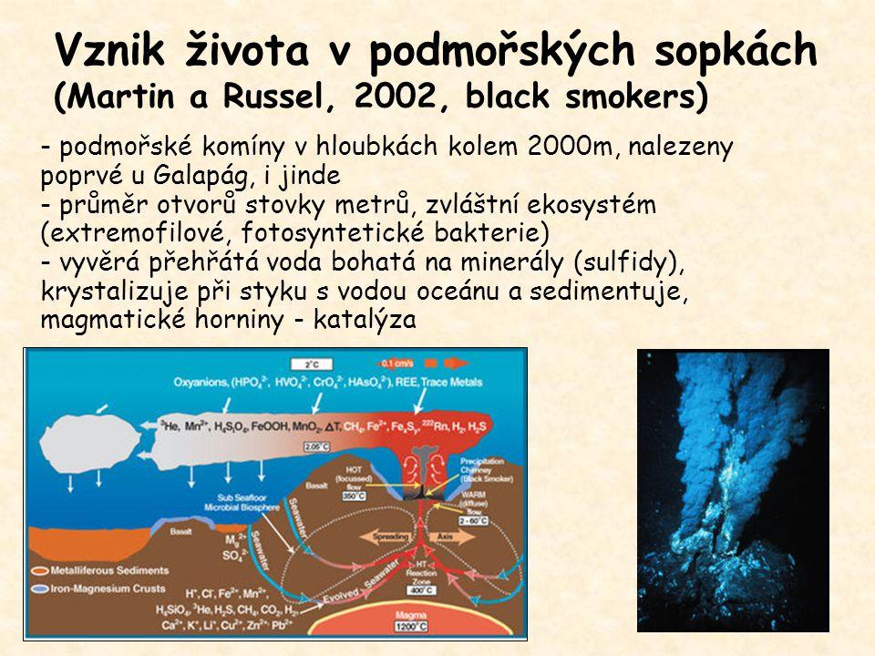 Vznik života v podmořských sopkách (Martin a Russel, 2002, black smokers)