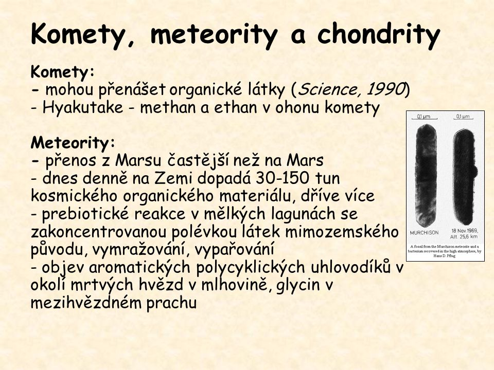 Komety, meteority a chondrity
