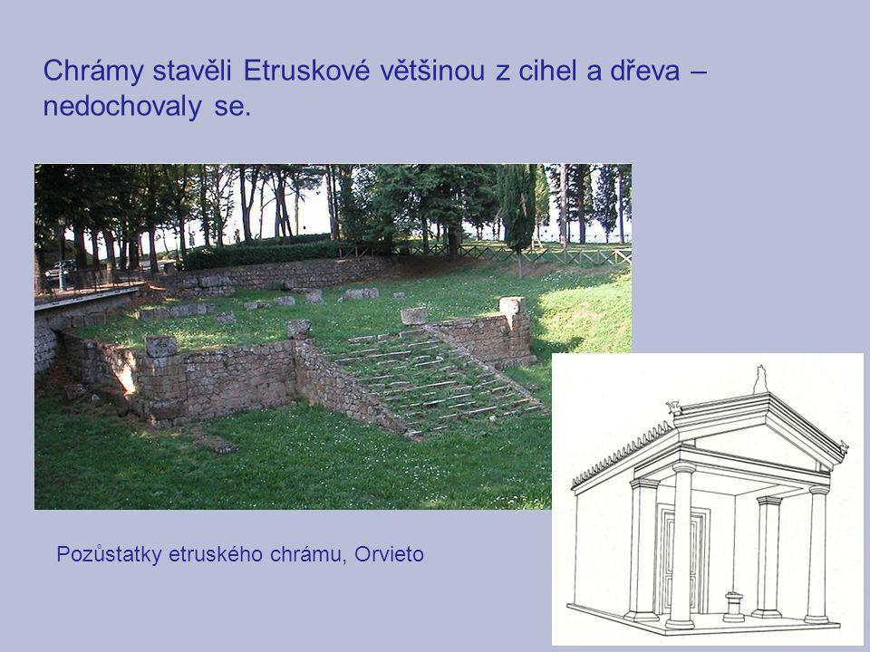 Chrámy stavěli Etruskové většinou z cihel a dřeva – nedochovaly se.