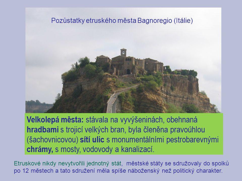 Pozůstatky etruského města Bagnoregio (Itálie)