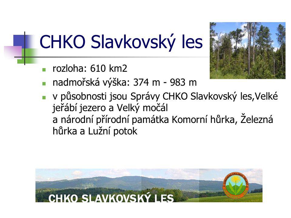 CHKO Slavkovský les rozloha: 610 km2 nadmořská výška: 374 m - 983 m