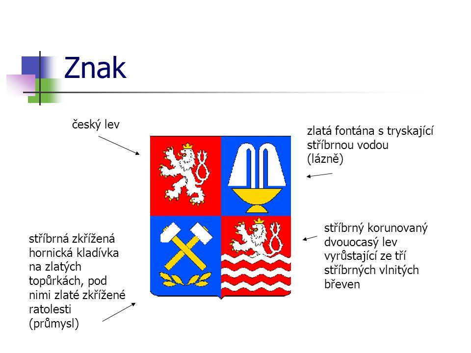 Znak český lev zlatá fontána s tryskající stříbrnou vodou (lázně)
