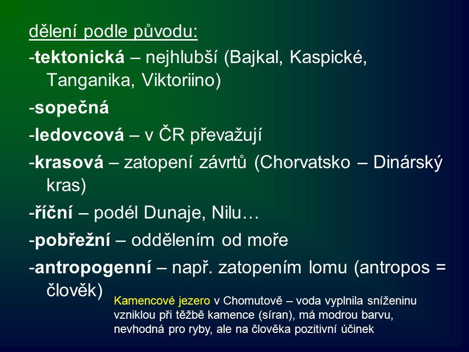 -tektonická – nejhlubší (Bajkal, Kaspické, Tanganika, Viktoriino)
