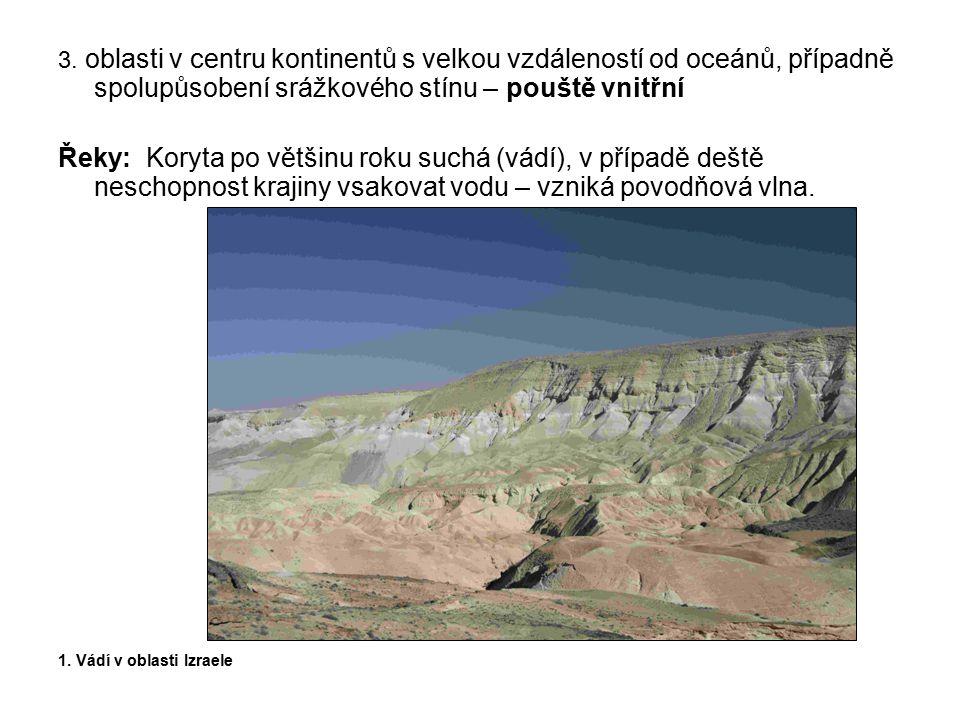 3. oblasti v centru kontinentů s velkou vzdáleností od oceánů, případně spolupůsobení srážkového stínu – pouště vnitřní