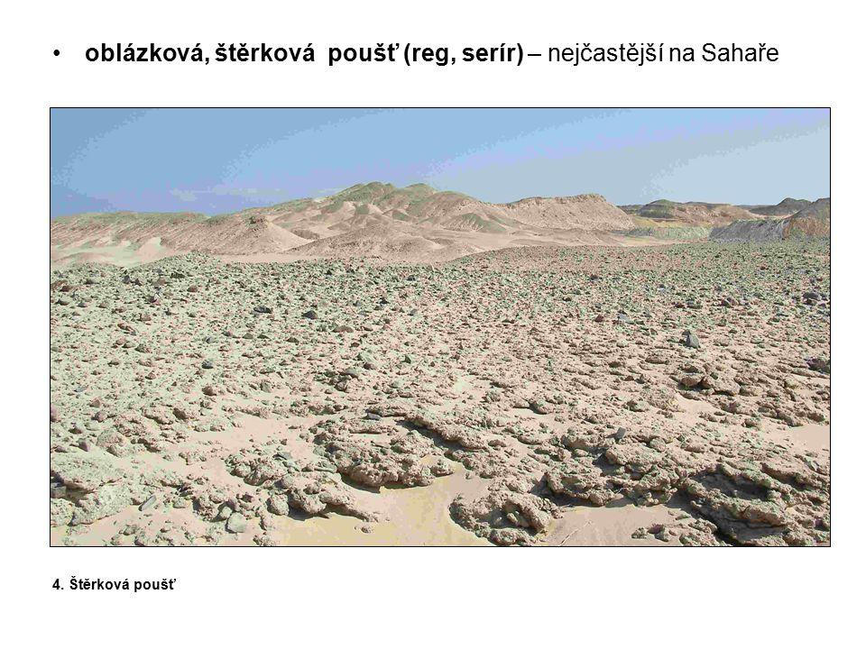 oblázková, štěrková poušť (reg, serír) – nejčastější na Sahaře
