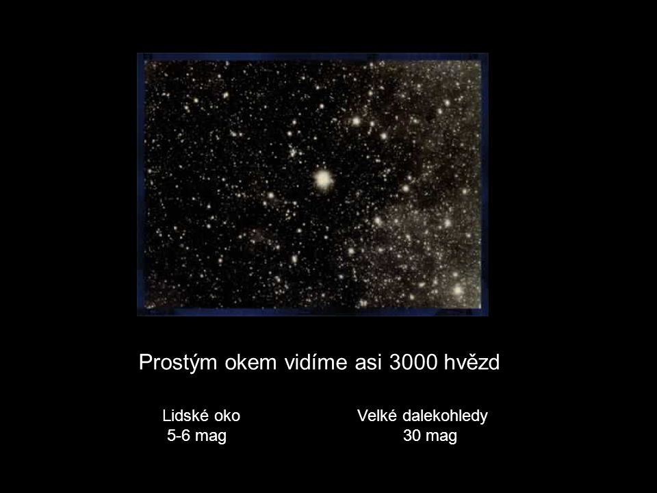 Prostým okem vidíme asi 3000 hvězd