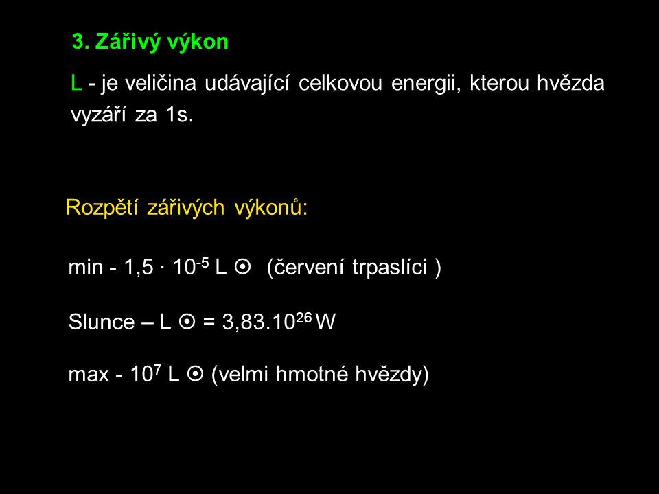 3. Zářivý výkon L - je veličina udávající celkovou energii, kterou hvězda. vyzáří za 1s. Rozpětí zářivých výkonů: