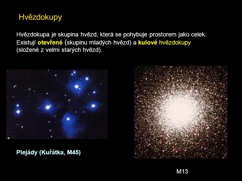 Hvězdokupy Hvězdokupa je skupina hvězd, která se pohybuje prostorem jako celek. Existují otevřené (skupinu mladých hvězd) a kulové hvězdokupy.
