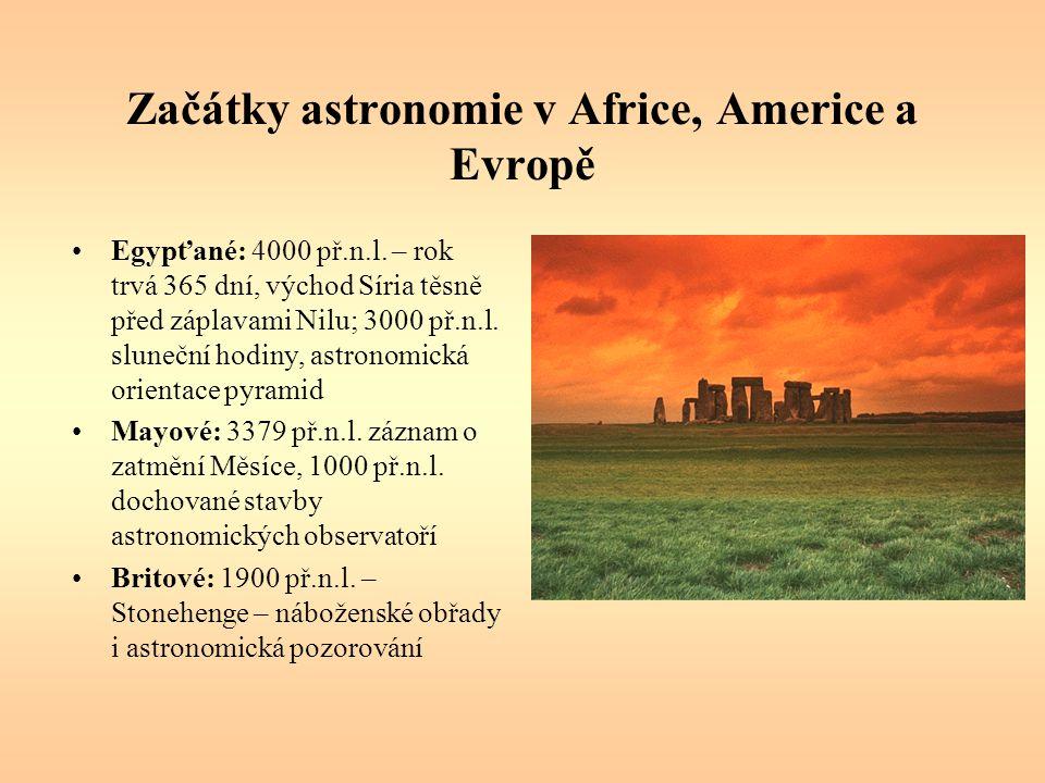 Začátky astronomie v Africe, Americe a Evropě