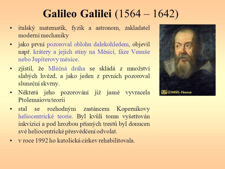 Galileo Galilei (1564 – 1642) italský matematik, fyzik a astronom, zakladatel moderní mechaniky.