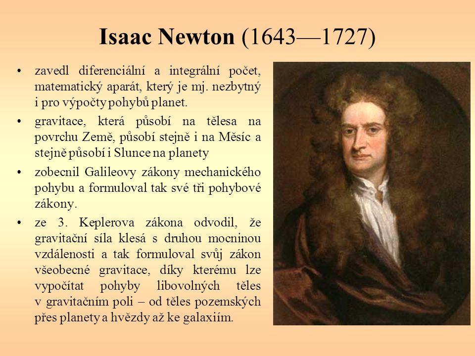 Isaac Newton (1643—1727) zavedl diferenciální a integrální počet, matematický aparát, který je mj. nezbytný i pro výpočty pohybů planet.