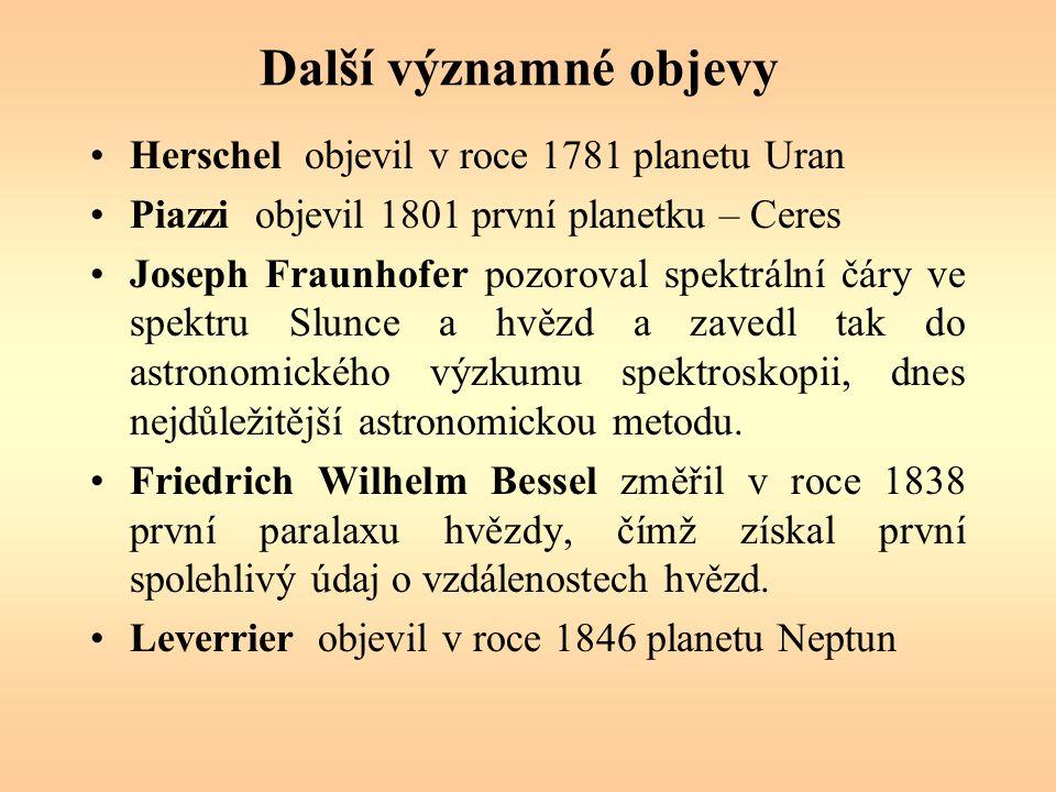 Další významné objevy Herschel objevil v roce 1781 planetu Uran