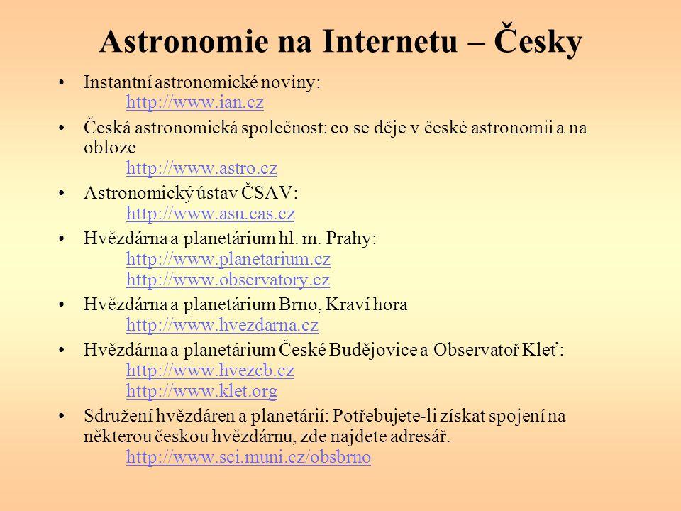 Astronomie na Internetu – Česky