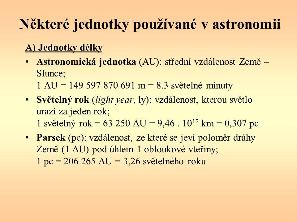 Některé jednotky používané v astronomii