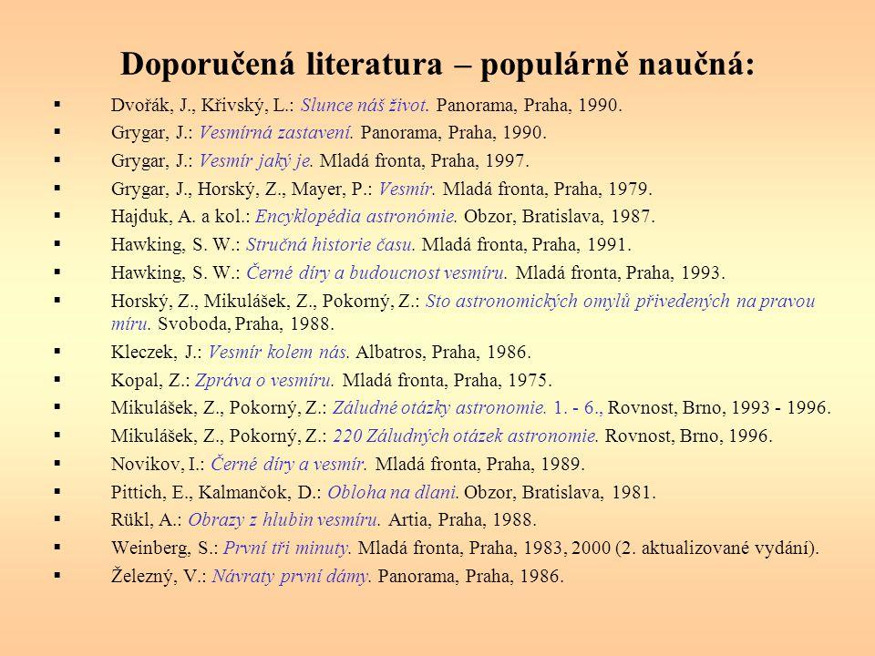 Doporučená literatura – populárně naučná: