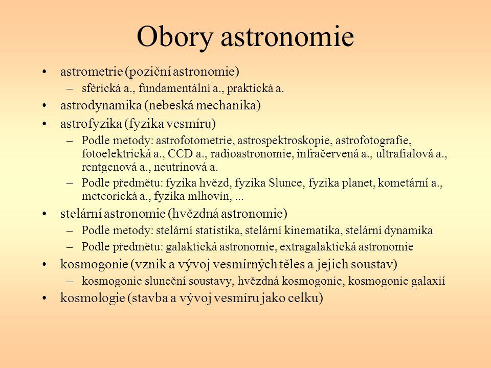 Obory astronomie astrometrie (poziční astronomie)
