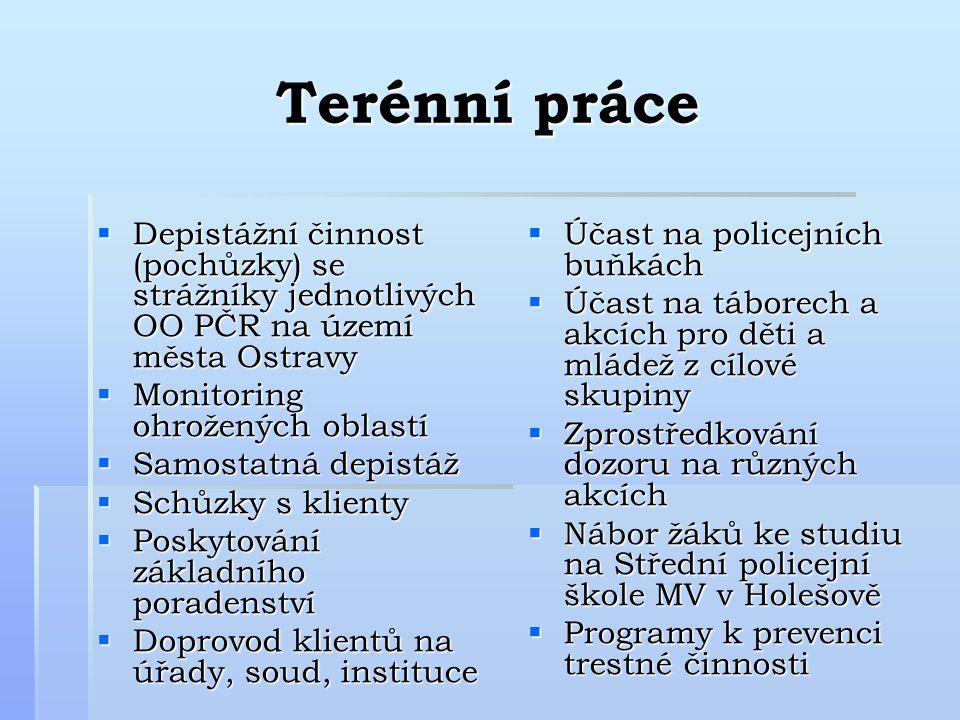 Terénní práce Depistážní činnost (pochůzky) se strážníky jednotlivých OO PČR na území města Ostravy.