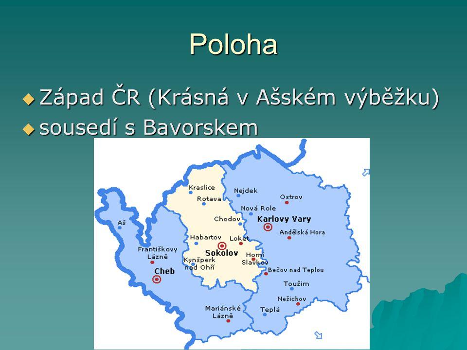 Poloha Západ ČR (Krásná v Ašském výběžku) sousedí s Bavorskem