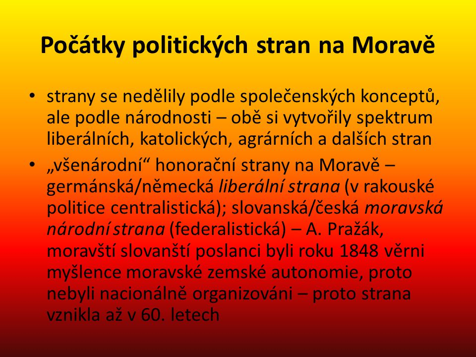 Počátky politických stran na Moravě