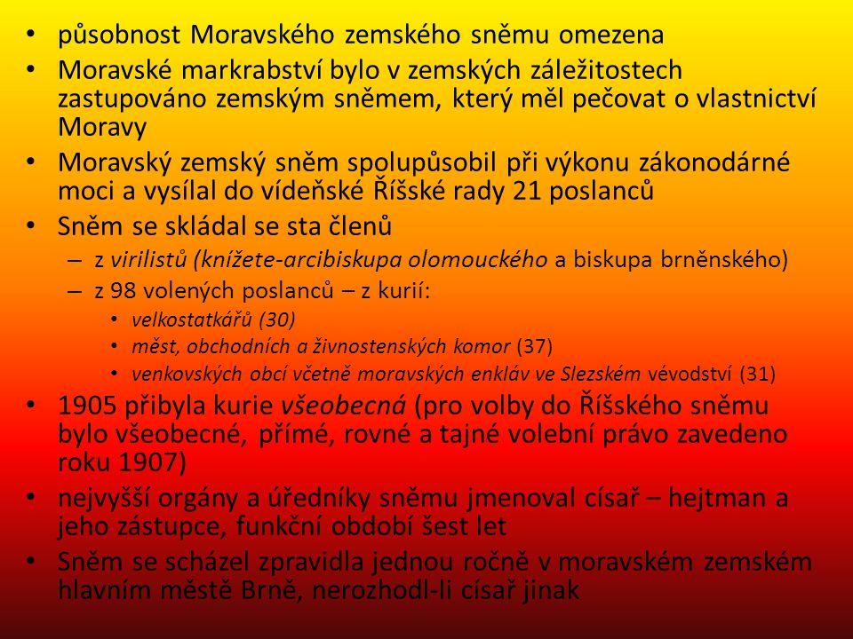 působnost Moravského zemského sněmu omezena