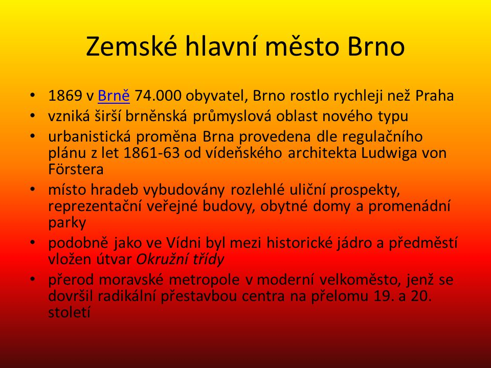 Zemské hlavní město Brno