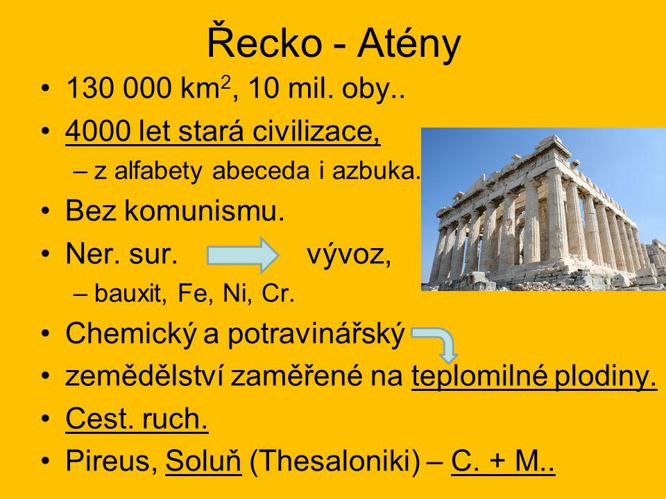 Řecko - Atény 130 000 km2, 10 mil. oby.. 4000 let stará civilizace,