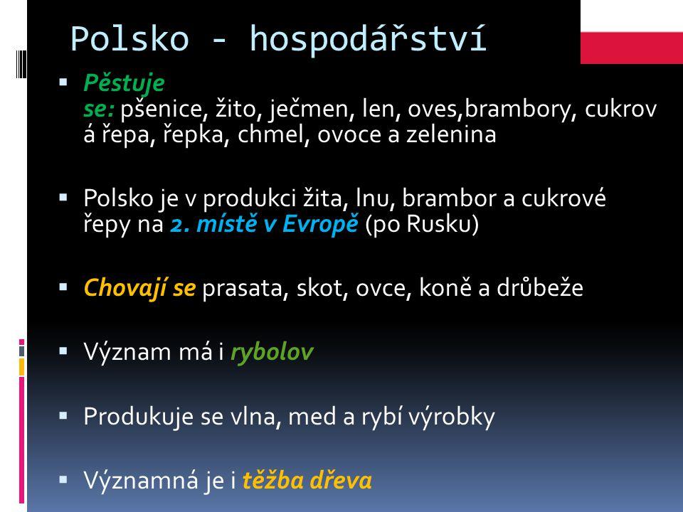 Polsko - hospodářství Pěstuje se: pšenice, žito, ječmen, len, oves,brambory, cukrov á řepa, řepka, chmel, ovoce a zelenina.