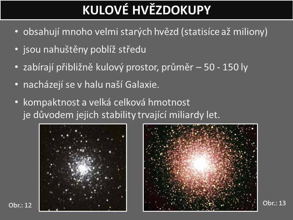 KULOVÉ HVĚZDOKUPY obsahují mnoho velmi starých hvězd (statisíce až miliony) jsou nahuštěny poblíž středu.