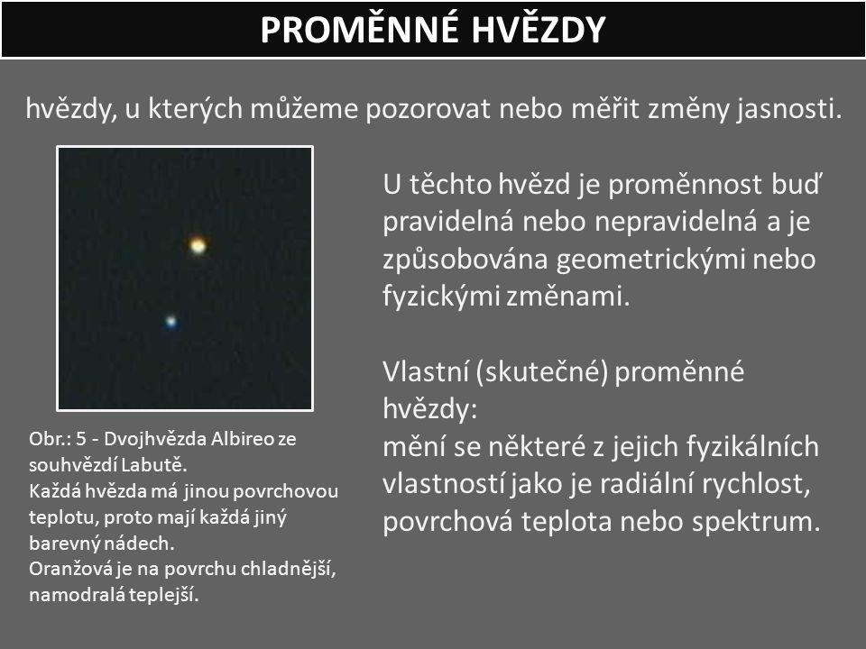 PROMĚNNÉ HVĚZDY hvězdy, u kterých můžeme pozorovat nebo měřit změny jasnosti.