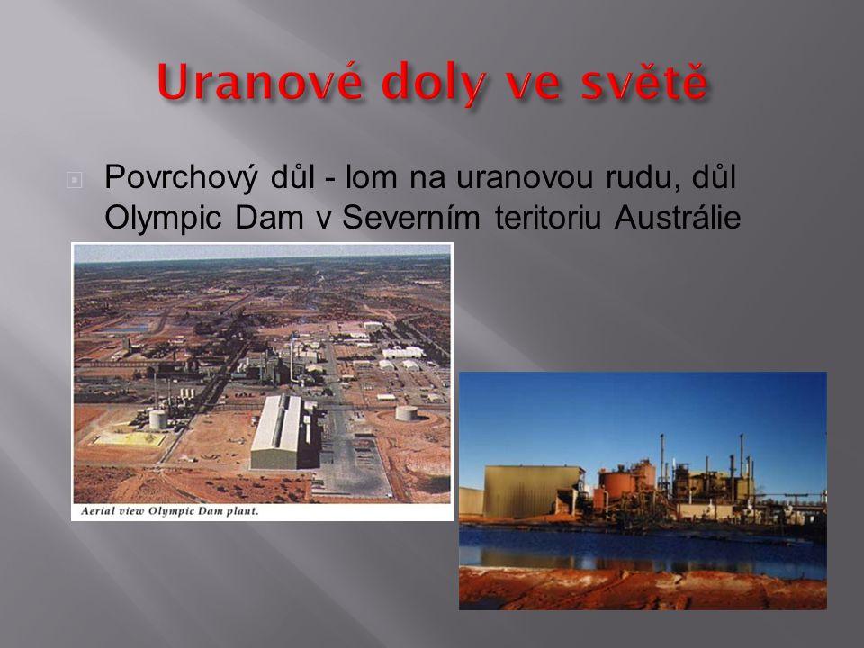 Uranové doly ve světě Povrchový důl - lom na uranovou rudu, důl Olympic Dam v Severním teritoriu Austrálie.