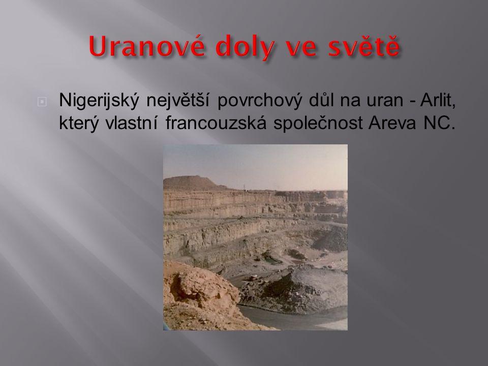 Uranové doly ve světě Nigerijský největší povrchový důl na uran - Arlit, který vlastní francouzská společnost Areva NC.